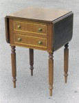 Cherry drop-leaf table, inlaid with walnut and maple